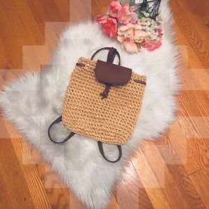 VINTAGE Leather and Straw boho backpack